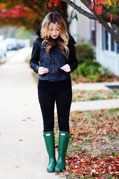 Boots: Hunter, Jeggings: Target, Top: Gap, Leather Jacket: c/o Windsor Store