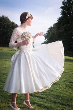 Josie, 50s style wedding dress by Lizzie Jayne, lace bodice ~ This is pretty much exactly what my ideal wedding dress looks like.