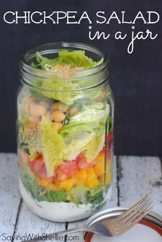 This Chickpea Salad in a jar is healthy and loaded with fresh flavor. Serve in a mason jar for an easy, on-the-go lunch. Blend it for a more palatable gastric free diet food Mason Jar Meals, Meals In A Jar, Mason Jars, Salad In A Jar, Soup And Salad, Real Food Recipes, Cooking Recipes, Yummy Food, Healthy Snacks