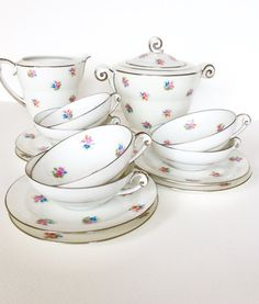 Limoges Art Deco teacups set. Delicate white by SouthofFranceFinds