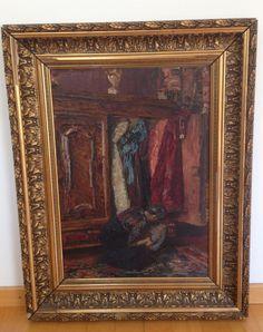 Paul Barthel - tysk kunstner 1862 - 1933. Kvinne foran garderobeskap. Olje på lerret 50 x37