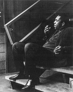 """John Coltrane on a break from recording """"A love supreme"""" , 1964"""