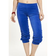 Harem Pant ($129) ❤ liked on Polyvore featuring pants, elastic waistband pants, velour pants, cropped pants, blue harem pants and elastic waist pants