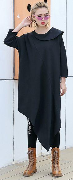 383103d97605 Classy black Cotton clothes For Women Korea Runway o neck asymmetric Art  Dress