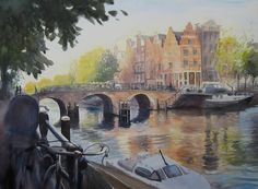 De Prinsengracht, Amsterdam, zonnige ochtend in oktober in Amsterdam, aquarel, Hannie Rieuwerts