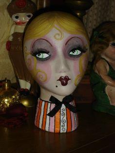 mannequin head by flapperdashery Dress Form Mannequin, Vintage Mannequin, Mannequin Heads, Vintage Dolls, Doll Head, Doll Face, Styrofoam Head, Flapper Era, Glamour Ladies