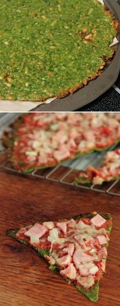 Spinach Crust Pizza. It is the lightest pizza you can get in the world. Crust for pizza is made from blend spinach, egg, cheese and spices. Pizza will be tender like clouds. You probably will feel yourself like in the heaven while gobbling it.