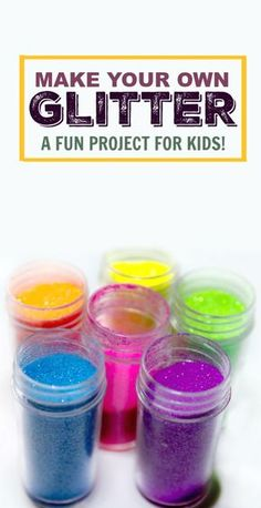 Recipe Homemade Glitter Recipe- fun to make and kids feel such a sense of of pride when using craft materials they made themselves!Homemade Glitter Recipe- fun to make and kids feel such a sense of of pride when using craft materials they made themselves! Fun Projects For Kids, Fun Crafts For Kids, Creative Crafts, Preschool Crafts, Crafts To Make, Art For Kids, Arts And Crafts, Home Made Paint For Kids, Project Ideas