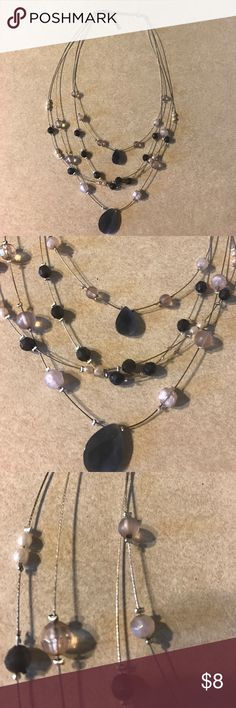 Wire beaded necklace Smoke colored beads with very light lavender or pink beads. Jewelry Necklaces