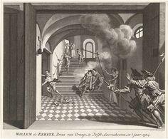 Noach van der Meer (II) | Moord op de prins van Oranje, 1584, Noach van der Meer (II), Simon Fokke, 1788 - 1790 | De prins van Oranje te Delft vermoord door Balthasar Gerards, 10 juli 1584. Willem van Oranje is op de trap neergeschoten en zakt in elkaar, links vlucht de moordenaar. Op de voorgrond twee toegesnelde wachten.