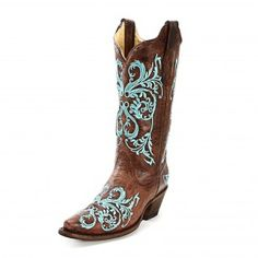 #CowboyCupidBeMine  OH I love these too!! Corral Dahlia Embroidered Cowgirl Boots boots for Kim's wedding