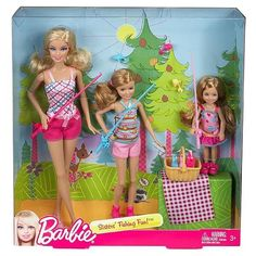 NIB Barbie Sisters Stacie, Chelsea Fishing Fun!  3 Doll Multipack Gift set