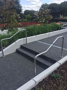 Balwyn Community Centre exposed aggregate steps with stainless steel handrails. Insitu Concrete edging. Concrete Pathway, Exposed Aggregate Concrete, Concrete Edging, Concrete Steps, Stainless Steel Handrail, Commercial Landscaping, Pathways, Centre, Community