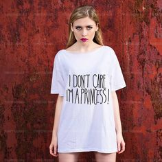 Oversize Off spalla t-shirt - non importa io sono una principessa - moda Trendy Hipster Tshirt con un taglio ampio collo - Street Style Tee on Etsy, €13,99