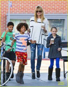 Heidi Klum gets coffee with her kids Leni, Henry and Johan on January 19, 2014