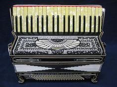 E. Piantanesi Special Fino Model Accordion, Black & White w/ Pearl-like Inlay #EPiantanesiSpecialFinoModelAccordionBlack