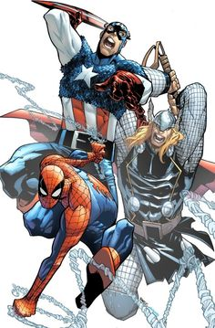 Spider-Man, Captain America, Thor by Humberto Ramos