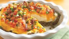 Ground Beef and Twice-Baked Potato Pie. No time for twice-baked? Get the same great flavor with refrigerated mashed potatoes. Then spread over a hearty ground beef filling. Pie Recipes, Great Recipes, Cooking Recipes, Favorite Recipes, Recipies, Potato Recipes, Healthy Recipes, Dinner Recipes, Yummy Recipes