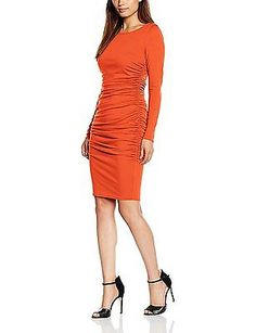 12, Red (Red), HotSquash Women's the Ruched Dress NEW