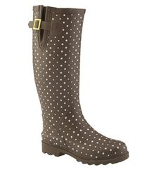 Chooka 'Posh Dot' Rain Boot in Chocolate