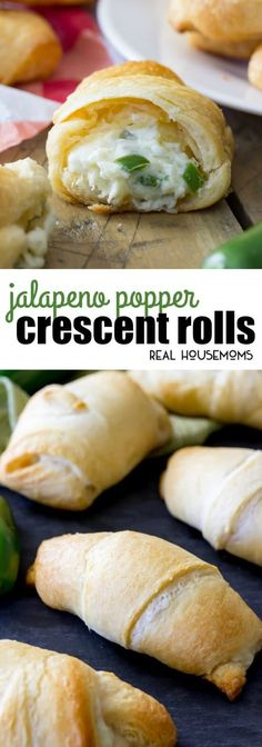These Jalapeno Popper Crescent Rolls are made with pre-made crescent roll dough and with a simple jalapeno popper inspired filling. They take just 15 minutes to assemble and are sure to be a showstopper! by caitlin Jalapeno Poppers Crescent Rolls, Cresent Roll Appetizers, Cresent Rolls, Crescent Roll Dough, Crescent Roll Pepperoni Rolls, Stuffed Crescent Rolls, Gluten Free Crescent Rolls, Jalapeno Poppers Baked, Recipes Using Crescent Rolls