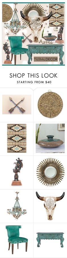 """Tribal Decor * Turquoise Living Room"" by calamity-jane-always ❤ liked on Polyvore featuring interior, interiors, interior design, home, home decor, interior decorating, NOVICA, Universal Lighting and Decor, living room and homedecor"