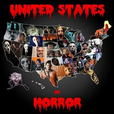 """United States of Horror Map. Cool, a scary movie that took place in each state. I had to look closer but it looks like KY is """"Return of the Living Dead."""" They could have also made KY """"Shadow People."""" That was a good one!"""