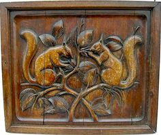 Squirrels on wood panel Woodlands Cottage, Whittling Wood, Squirrel Girl, Found Art, Door Accessories, Looks Vintage, Autumn Trees, Black Forest, Woodcarving