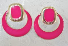 80s Vintage Earrings Hot Pink & Gold Door by KKCollectibleCollage, $3.50 https://www.etsy.com/listing/158886155/80s-vintage-earrings-hot-pink-gold-door