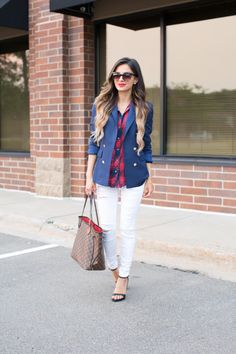 Discover this look wearing Red Zara Tops, White Topshop Jeans, Blue Zara Blazers - Fall Prep. by MiaMiaMine styled for Classic, Everyday in the Fall Zara Blazer, Zara Heels, Topshop Jeans, Louis Vuitton Neverfull Mm, Office Looks, Fall Looks, Zara Tops, Pants Outfit, Casual Fall