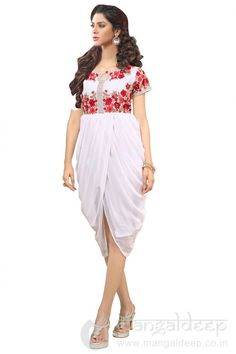 Off White Colored Georgette Party Wear Kurti. For more information :- Call us @+919377222211 (Whatsapp Available)