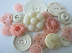 Vintage Buttons  Cottage chic mix of pink and off by pillowtalkswf, $8.95