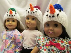 Three Snowmen Hats for the 18'' Dolls,These fit the 18''Dolls Such as American, Our Generation and Others , Cute Winter Wear, Fun Outer Wear by SewManyThingsbyNancy on Etsy