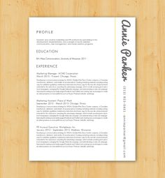 Custom Resume Writing and Design Service: Includes Resume Writing, Resume Design  - Minimalist, Modern Design - The Annie Parker