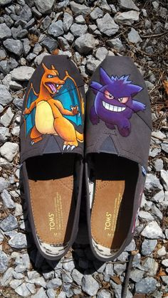 Charizard and Gengar Pokemon themed handpainted custom TOMS shoes. Customized commissions available at www.etsy.com/shop/waffleink