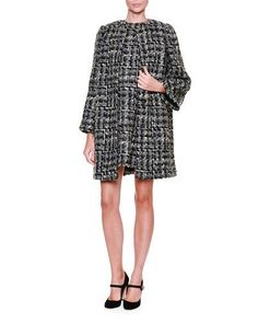 -6ME5 Dolce & Gabbana  Snap-Front Tweed Topper Coat, Gray/Black/Multi