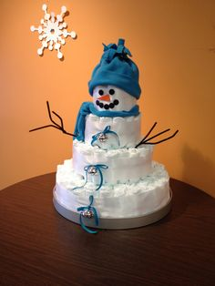 """Snowman Diaper Cake """"Baby It's Cold Outside"""""""