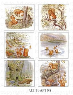 Printable BEATRIX POTTER squirrel images (107)  Collage for crafts, scrapbooking,  cards, ATCs. instant download