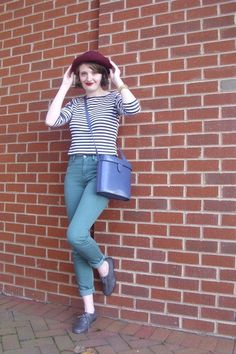 Locks of Love, short hair, cute, hat, jeans, pine green, urban outfitters, stripes, brenton top, oxfords, fall, autumn, style, fashion, outfit, OOTD, vintage