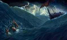 Waves crash over Jonah after he is thrown into the sea