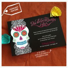 This brand new Day of the Dead invitation was designed by Brittany and is perfect for a wedding - or any celebration!