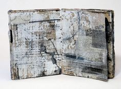 "Linda Welch "" context understandable "" - Unique Artist Book 5 x 4 x .75 inches ; Mixed media collage, 24 pages, coptic binding, 2011"