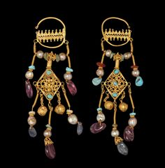 archaicwonder: Byzantine Gold Earrings, 10th-12th Century With sapphires, turquoise, amethyst and pearls