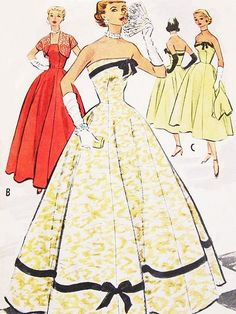 1950s Beautiful Evening Dress Pattern McCalls 9152 Glamorous Strapless Gown or Cocktail Dress With Bolero Jacket Bust 30 Vintage Sewing Patterns