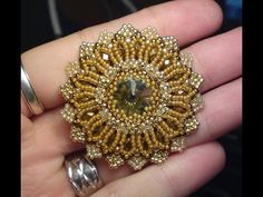 * Shiny Rivoli Pendant 2 (The improved version) Beading Tutorial by HoneyBeads (Photo tutorial) - YouTube