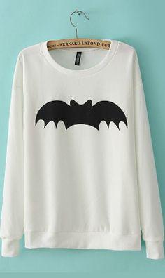 Western fasion leisure bat logo round collar sweater white