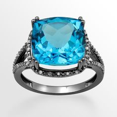 Black Rhodium-Plated 10k White Gold Blue Topaz & Diamond Accent Ring ($1,250) ❤ liked on Polyvore