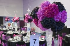 Pompom table-centres at the Network She Awards 2013 at Venue Cymru