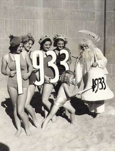 Models at the beach help ring in 1933