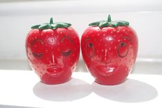 Vintage Anthro Salt and Pepper Set: Strawberry Face Kissing People Kitsch Anthropomorphic Plastic